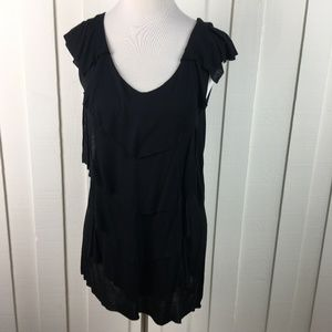 CAbi Black Tunic Top Lagenlook Rayon